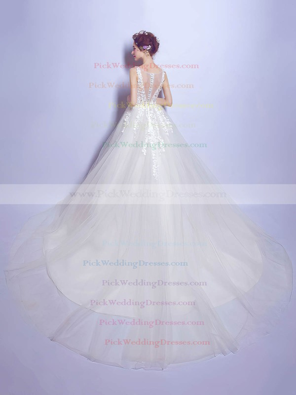 Ball Gown V-neck Ivory Tulle with Appliques Lace Chapel Train Beautiful Wedding Dresses #PWD00022799