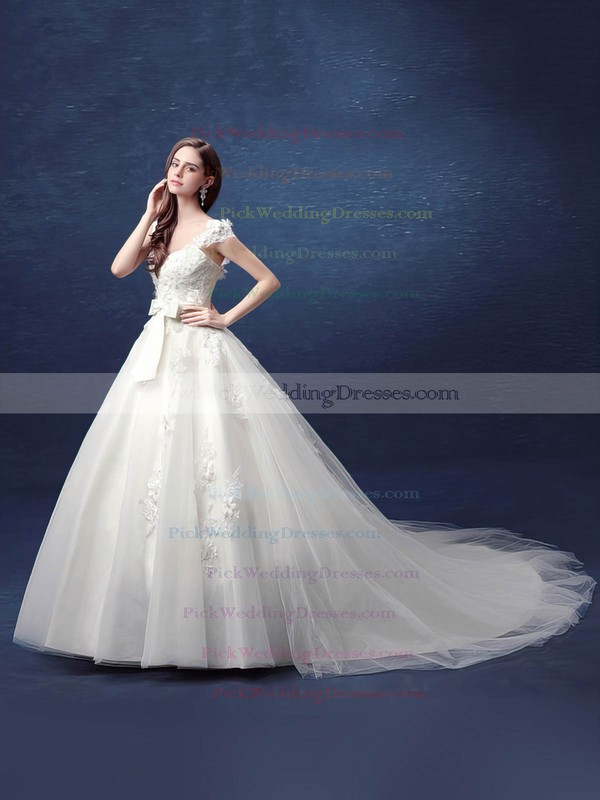 Ball Gown V-neck Tulle with Appliques Lace Court Train Backless Fabulous Wedding Dresses #PWD00022800