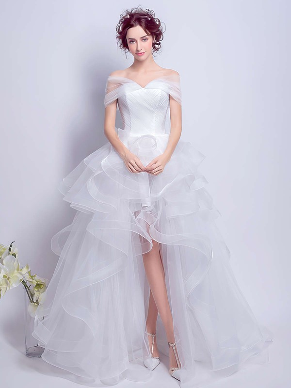 Different Princess Off-the-shoulder White Organza Tiered Asymmetrical Wedding Dresses #PWD00022801