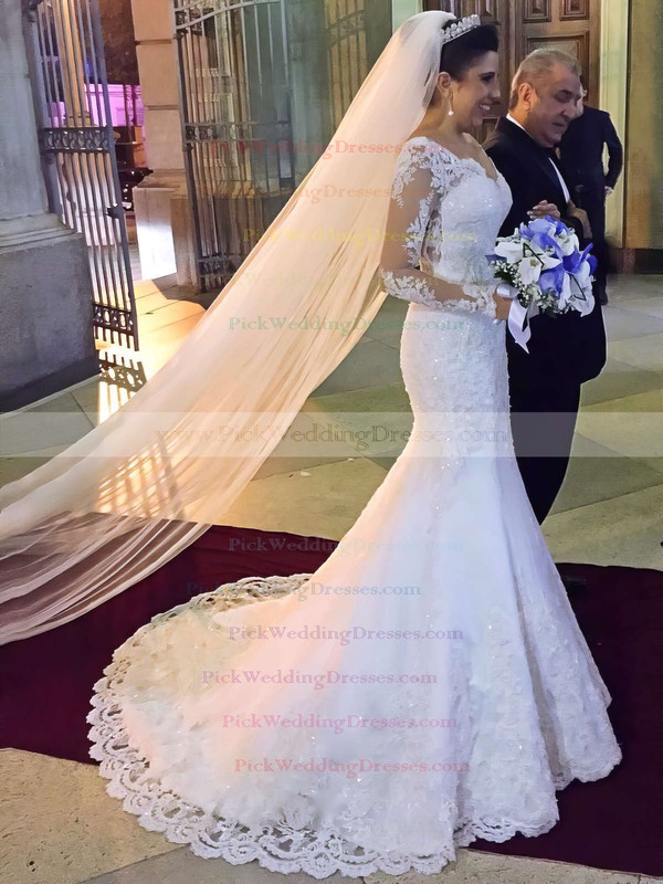 Trumpet/Mermaid Off-the-shoulder Tulle Appliques Lace Sweep Train Long Sleeve Modest Wedding Dresses #PWD00022803