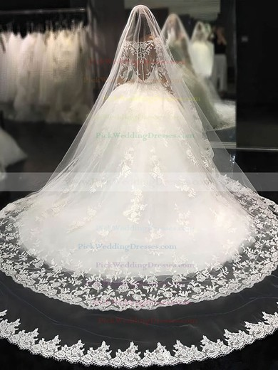 Ball Gown Scoop Neck Tulle Appliques Lace Chapel Train Long Sleeve Stunning Wedding Dresses #PWD00022804