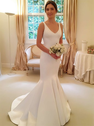 Simple Trumpet/Mermaid V-neck Satin with Bow Sweep Train Backless Wedding Dresses #PWD00022805
