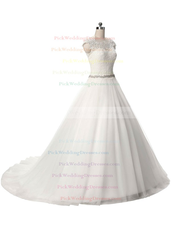 Graceful Ball Gown Scalloped Neck Tulle Sashes / Ribbons Sweep Train Wedding Dresses #PWD00022806