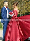 Ball Gown Off-the-shoulder Burgundy Satin Tulle Appliques Lace Watteau Train Long Sleeve Classy Wedding Dresses #PWD00022807