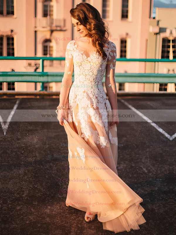 A-line Scoop Neck Champagne Tulle Appliques Lace Floor-length Long Sleeve New Wedding Dresses #PWD00022808