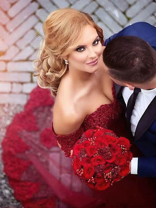 Sexy Trumpet/Mermaid Off-the-shoulder Burgundy Tulle Appliques Lace Court Train Wedding Dresses #PWD00022809