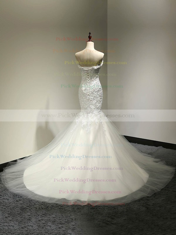 Trumpet/Mermaid Sweetheart White Tulle Appliques Lace Court Train Custom Wedding Dresses #PWD00022810