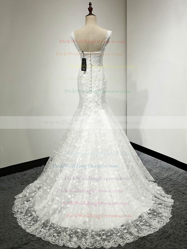 Classic Trumpet/Mermaid V-neck Ivory Lace with Appliques Lace Sweep Train Wedding Dresses #PWD00022811