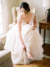 Fashion A-line V-neck Chiffon Tulle with Pick-Ups Sweep Train Cap Straps Wedding Dresses #PWD00022812