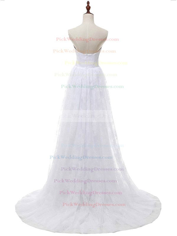 Affordable A-line Sweetheart Lace Chiffon with Appliques Lace Sweep Train Wedding Dresses #PWD00022813