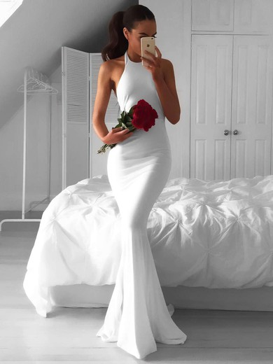 Trumpet/Mermaid Halter White Chiffon Ruffles Sweep Train Backless Hot Wedding Dresses #PWD00022814