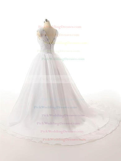 Inexpensive Ball Gown V-neck Organza with Beading Court Train Wedding Dresses #PWD00022815