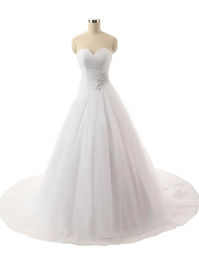 Wholesale Ball Gown Sweetheart Tulle with Ruffles Sweep Train Wedding Dresses #PWD00022816