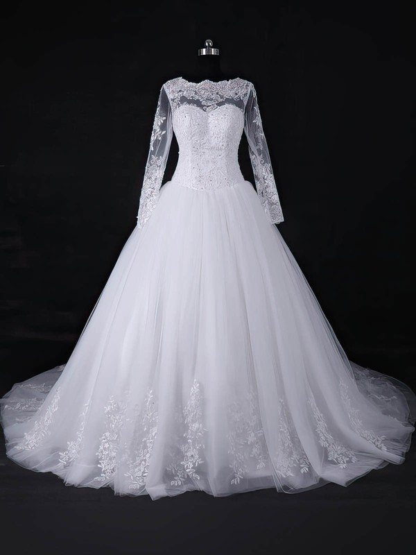 Discounted Ball Gown Scoop Neck White Tulle Appliques Lace Court Train Long Sleeve Wedding Dresses #PWD00022818