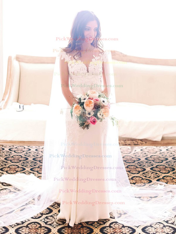 Newest Sheath/Column Scoop Neck Tulle Silk-like Satin Appliques Lace Sweep Train Wedding Dresses #PWD00022819