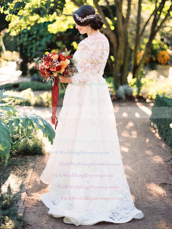 A-line Scoop Neck Lace Appliques Lace Sweep Train 3/4 Sleeve Two Piece Latest Wedding Dresses #PWD00022820