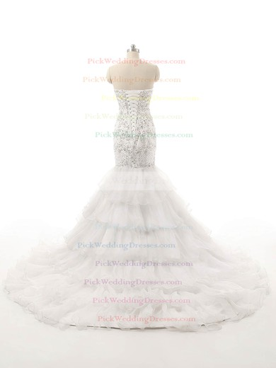 Vintage Trumpet/Mermaid Sweetheart Organza with Tiered Court Train Lace-up Wedding Dresses #PWD00022821