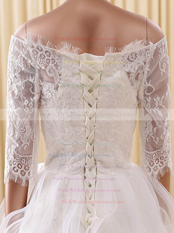 A-line Off-the-shoulder Organza Tulle Appliques Lace Short/Mini 1/2 Sleeve Cute Wedding Dresses #PWD00022822