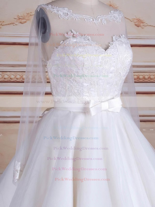 A-line Scoop Neck Tulle Appliques Lace Knee-length Long Sleeve Backless Trendy Wedding Dresses #PWD00022824
