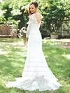 Popular Trumpet/Mermaid V-neck Tulle Appliques Lace Sweep Train Long Sleeve Wedding Dresses #PWD00022825