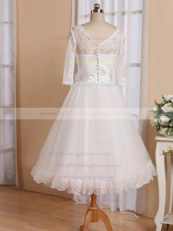 Cheap A-line V-neck Tulle with Flower(s) Tea-length 3/4 Sleeve Wedding Dresses #PWD00022826