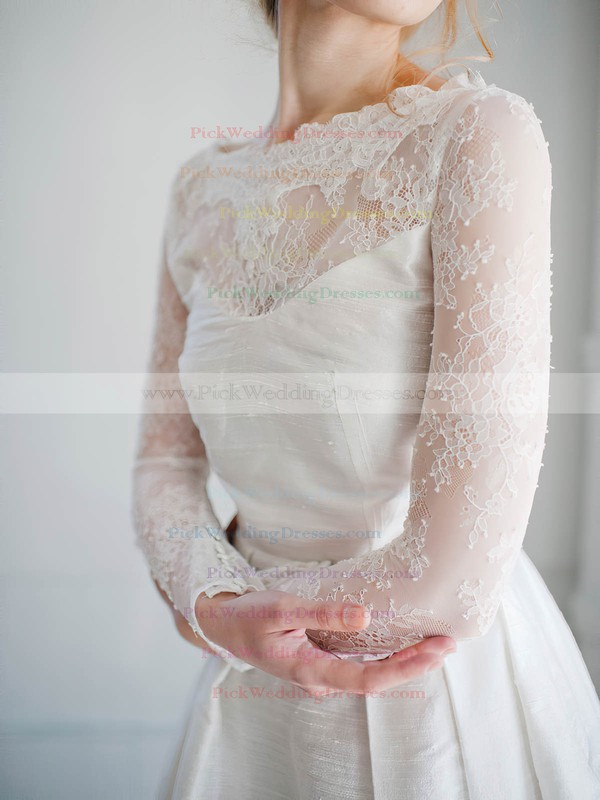A-line Scoop Neck Lace Satin Appliques Lace Short/Mini Long Sleeve Modern Wedding Dresses #PWD00022827