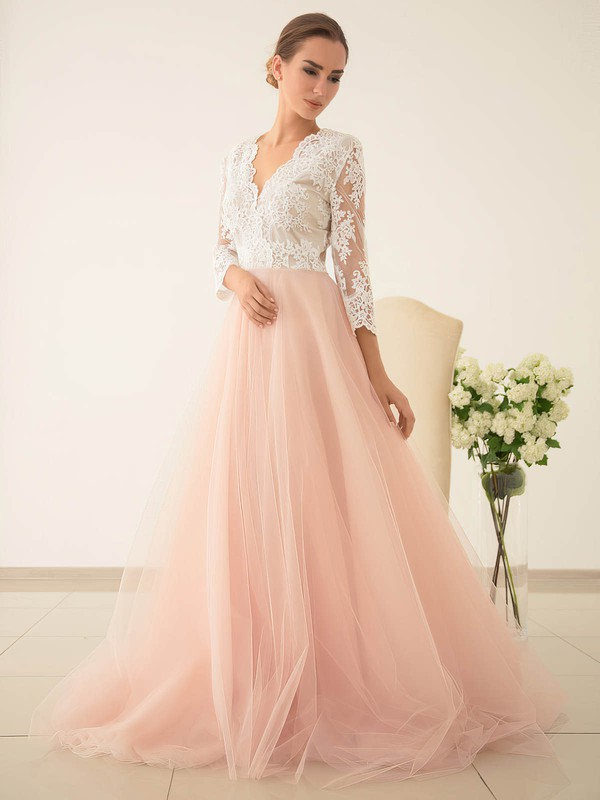 Pretty Princess V-neck Tulle with Appliques Lace Sweep Train 3/4 Sleeve Wedding Dresses #PWD00022828
