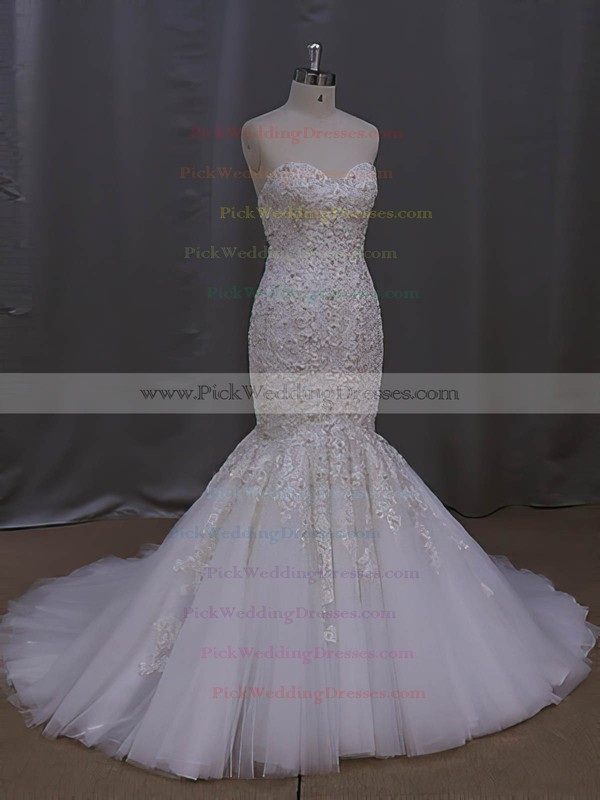 Online Trumpet/Mermaid Sweetheart Tulle with Appliques Lace Court Train Wedding Dresses #PWD00022829