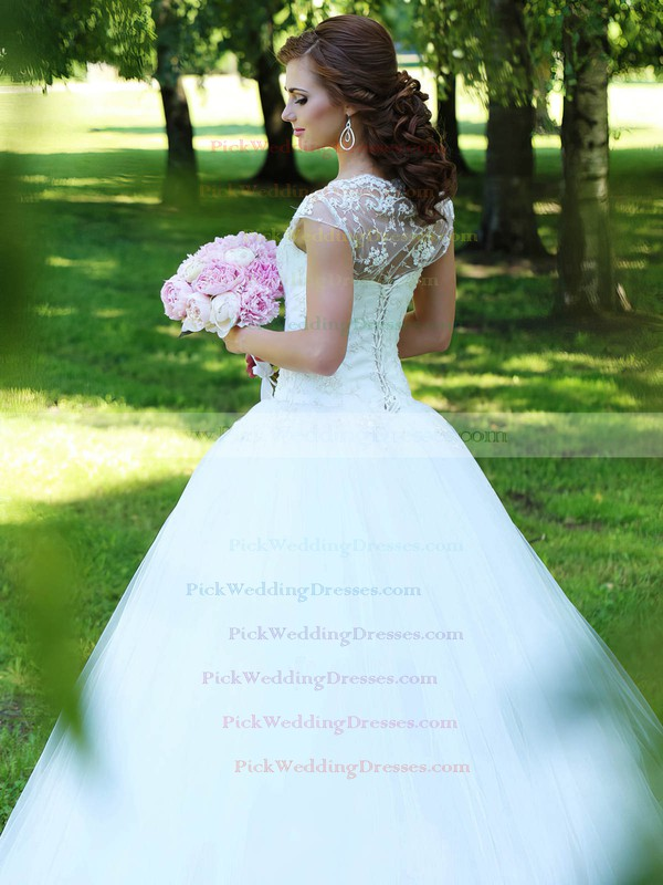 New Style Ball Gown Scalloped Neck Tulle Appliques Lace Floor-length Wedding Dresses #PWD00022830