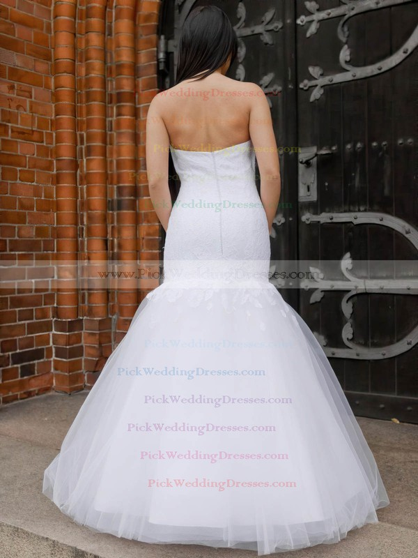Elegant Trumpet/Mermaid Sweetheart Tulle Appliques Lace Floor-length Wedding Dresses #PWD00022831