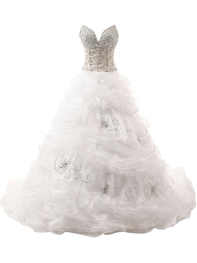 Ball Gown V-neck Organza with Beading Court Train Lace-up Beautiful Wedding Dresses #PWD00022832