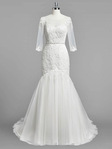 Trumpet/Mermaid Scoop Neck Tulle Appliques Lace Sweep Train 3/4 Sleeve Modest Wedding Dresses #PWD00022833