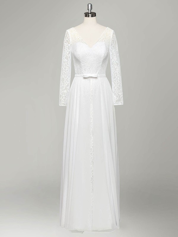 Cheap A-line V-neck Lace Chiffon Sashes / Ribbons Floor-length Long Sleeve Wedding Dresses #PWD00022834