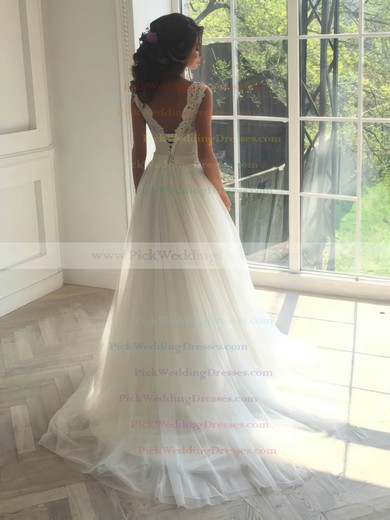 A-line Scoop Neck Tulle with Appliques Lace Sweep Train Backless Sweet Wedding Dresses #PWD00022835