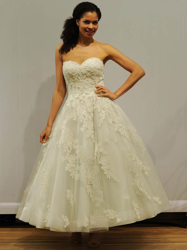 Classic Ball Gown Sweetheart Tulle with Appliques Lace Ankle-length Wedding Dresses #PWD00022838