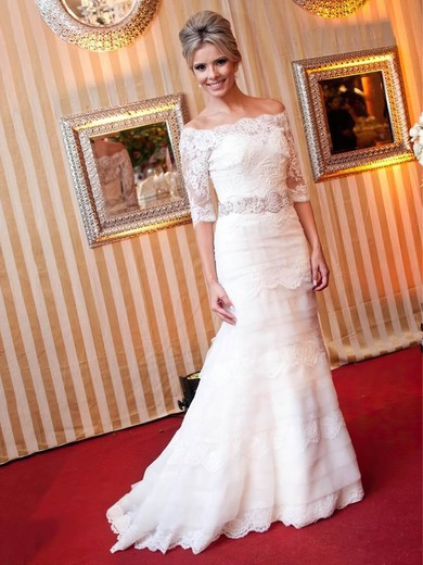 Trumpet/Mermaid Off-the-shoulder Tulle Appliques Lace Sweep Train 1/2 Sleeve Graceful Wedding Dresses #PWD00022839