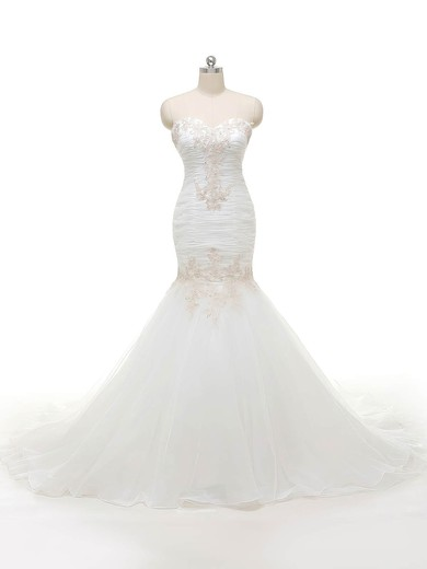 Wholesale Trumpet/Mermaid Sweetheart Organza with Appliques Lace Sweep Train Wedding Dresses #PWD00022840