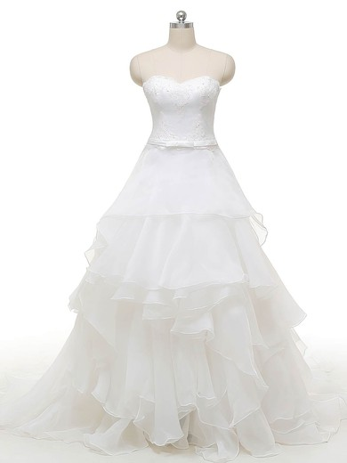 Original Princess Sweetheart Organza with Appliques Lace Court Train Wedding Dresses #PWD00022841