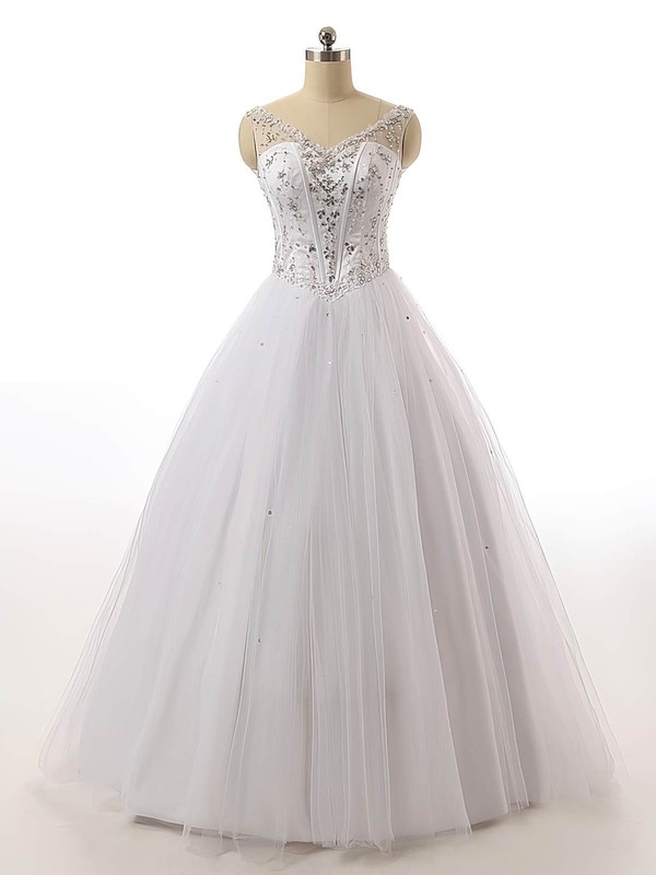 Vintage Ball Gown V-neck Tulle with Beading Floor-length Lace-up Wedding Dresses #PWD00022842