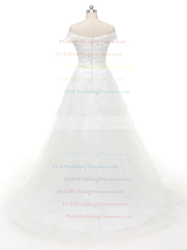 Discounted Ball Gown Off-the-shoulder Tulle Appliques Lace Sweep Train Wedding Dresses #PWD00022843