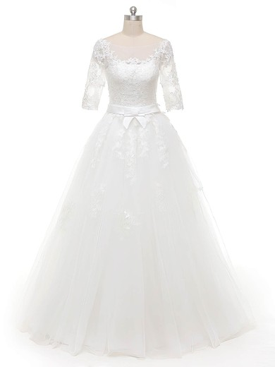 Ball Gown Scoop Neck White Tulle Appliques Lace Floor-length 1/2 Sleeve Original Wedding Dresses #PWD00022844