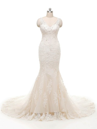 Perfect Trumpet/Mermaid V-neck Ivory Tulle Crystal Detailing Court Train Wedding Dresses #PWD00022845