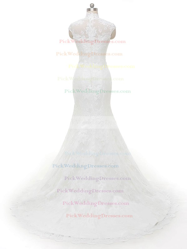 Famous Trumpet/Mermaid High Neck Tulle with Appliques Lace Sweep Train Wedding Dresses #PWD00022846