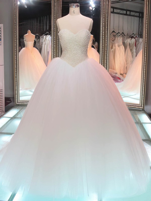Ball Gown Sweetheart Tulle Pearl Detailing Floor-length Lace-up Boutique Wedding Dresses #PWD00022847
