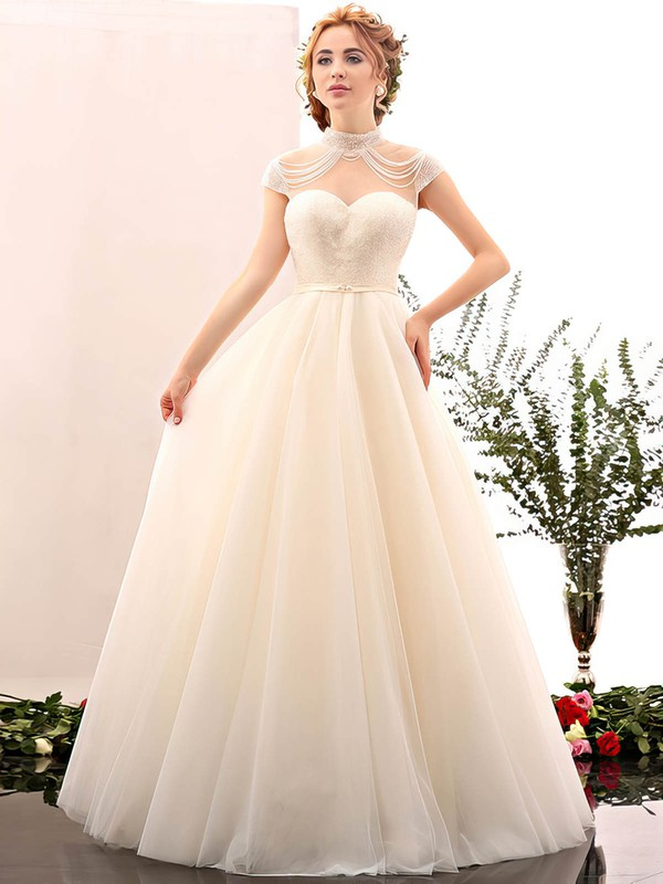 Ball Gown High Neck Tulle with Beading Floor-length Open Back Fabulous Wedding Dresses #PWD00022848