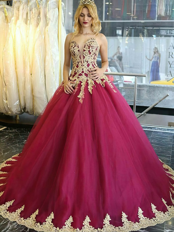 Boutique Ball Gown Sweetheart Burgundy Tulle Appliques Lace Sweep Train Wedding Dresses #PWD00022849