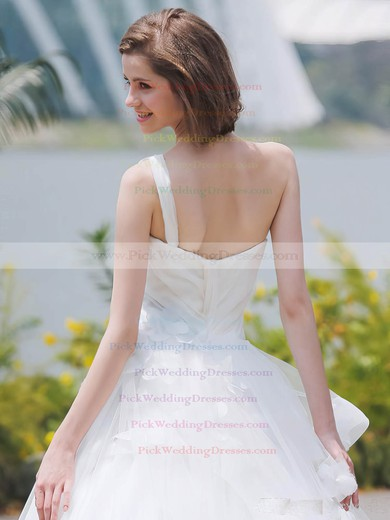 Glamorous Ball Gown One Shoulder Tulle with Flower(s) Sweep Train Wedding Dresses #PWD00022850