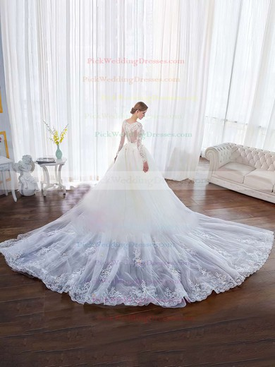 Ball Gown Scoop Neck Tulle Lace Appliques Lace Chapel Train Long Sleeve Classy Wedding Dresses #PWD00022851