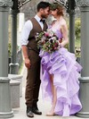 Exclusive A-line Halter Organza Cascading Ruffles Asymmetrical High Low Wedding Dresses #PWD00022852
