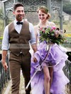 Exclusive A-line Halter Organza Cascading Ruffles Asymmetrical High Low Wedding Dresses #PWD00022852